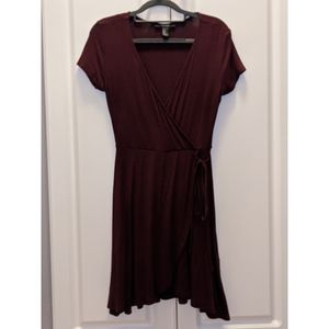 Forever 21 Burgundy Tie Belt Wrap Dress